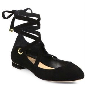 DVF Black Suede Dakar Lace Up Ballet Flats